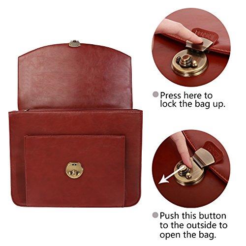 ECOSUSI Donna Vintage Borsa Messenger Borsa a Tracolla Borsa a spalla Rosso