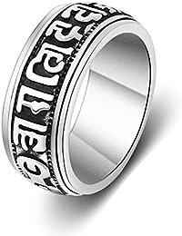 Trendsmax Hombres Ninos tono de plata tallado anillo de acero Magia Runas Band Anillo inoxidable 316L
