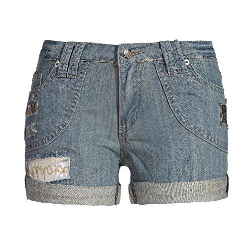 Jeans Hotpants mit Destroyed Effekten und Schmuck Details, Blue Denim, 36, A-1064-1 (Denim Detail Pant)