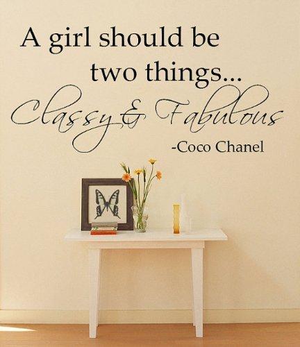 Imprinted Designs Ein Mädchen Sollte Zwei Dinge. Coco Chanel Vinyl Wand Aufkleber Medium 14