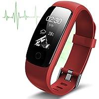 Fitness Tracker Armband Smart Watch Wasserdicht Ip67, Smart Bracelet Wristband Mit Herzfrequenz Damen Herren für Android und IOS, Bluetooth Aktivitätstracker Schrittzähler, Armbanduhr Schlafanalyse / Kalorienzähler, SMS Anrufe Reminder für Android und iOS…