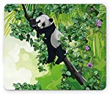 Panda-Mausunterlage, Dschungel-Mausunterlage, niedlicher Panda-Bär, der auf Baumasten im Regenwald-Bild, Standardgrößen-Rechteck-Rutschfesten Gummi Mousepad schläft