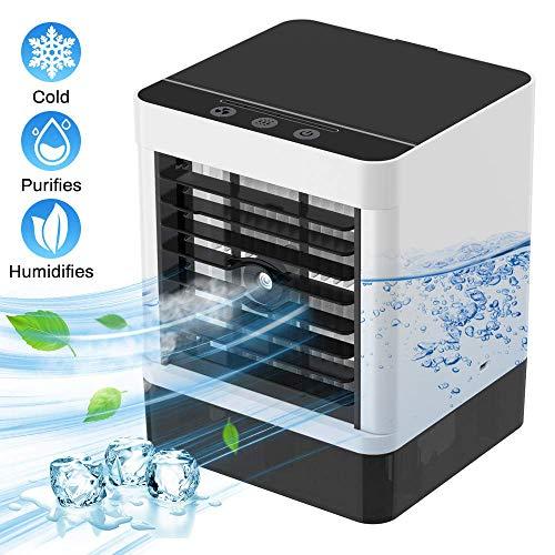Mobil Klimagerät Air Cooler Luftbefeuchter Luftreiniger Raumluftkühler Desinfizierung mit USB Anschluß 3 Leistungsstufen Tragbare Klimaanlage für Büro Garage und Haus ... (Weiß 3)