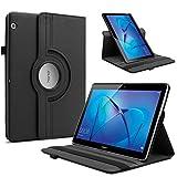 Infiland Huawei MediaPad T3 10 Hülle, Ultra Dünn PU Leder Ultra Schlank Superleicht Ständer Rotating Cover Schutzhülle Etui Tasche für Huawei MediaPad T3 10 (9,6 Zoll) Tablet-PC(Schwarz)