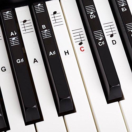 Belfort®️ Klavier + Keyboard Noten-Aufkleber für 49 | 61 | 76 | 88 Tasten + Gratis Ebook | Piano Sticker Komplettsatz für schwarze + weisse Tasten | C-D-E-F-G-A-H | Einfache deutsche Anleitung (Piano Keyboards 88)