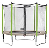 Kangui Trampoline de Jardin Rond Enfant Ø 305cm Jumpi - Vert/Noir (Pop) ou Vert/Beige (Zen) - Pack trampoline seul ou Pack trampoline + accessoires (échelle, couverture, kit d'encrage)
