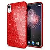 NALIA Coque Silicone Compatible avec iPhone XR, Ultra-Fine Glitter Housse Protection Slim Case Paillettes Cover Souple Résistant, Incassable Bling Etui Rigide Strass Bumper Mince, Couleur:Rouge