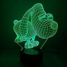 3D Luce Notturna,DINOWIN 3D Optical Illusion Visiva illuminazione lampada da Tavolo ,7 Cambiamento di colore pulsante tattile USB lampada LED Decorazione (Cane)