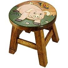 """'Niños Taburete """"Cerdo en la pradera, altura: 25cm, diámetro de 25cm (N47)"""