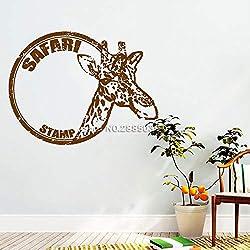 zqyjhkou Style Africain Animaux Girafe Decal Safari Citation Créatif Designs Art Bureau Home Decor Wall Sticker Vinyle Chambre Murale 2 M 74cm x 56cm