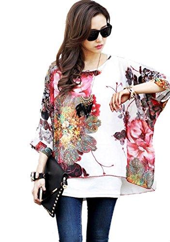 OKSakady Frauen Lose T-Shirt Chiffon Batwing Ärmel Bluse Plus Size Tunika