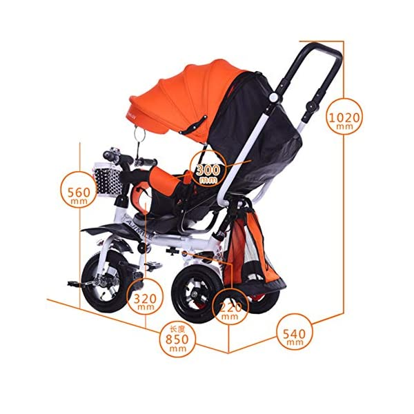 GSDZSY - 4 IN 1 Luxury Children Tricycle, Adjustable Seat, Baby Can Sit Or Lie Flat, Foldable Frame With Shock Absorber, 1-6 Years Old GSDZSY ❀ Material: High carbon steel + ABS + rubber wheel, suitable for children from 1 to 6 years old, maximum load 30 kg ❀ Features: The frame can be folded, the seat can be rotated 360; the backrest can be adjusted, the baby can sit or lie flat, the push rod and the parasol can be adjusted, suitable for different weather conditions ❀ Performance: high carbon steel frame, strong and strong bearing capacity; rubber wheel suitable for all kinds of road conditions, good shock absorption, seat with breathable fabric, baby ride more comfortable 2