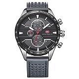 Mini Focus Herren Fashion Analog Quarz echtem Lederband Uhren für MAN CLASSIC Armbanduhr für Herren Jährliche 2018Grau