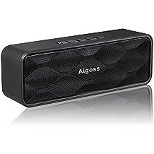 Wireless Bluetooth speaker, Aigoss altoparlante stereo portatile con audio HD e enhanced Bass, Built-in Dual driver altoparlante, Bluetooth 4.2, vivavoce, radio FM e slot per schede TF, nero