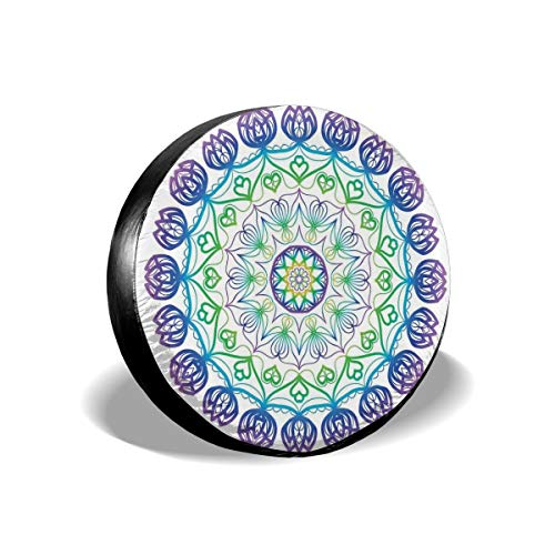 ErwangGo Tire Cover Wheel Covers,Boho Rosette Pattern with Hearts and Star Ornamental Oriental Composition,for SUV Truck Camper Travel Trailer Accessories(14,15,16,17 Inch) 17 -