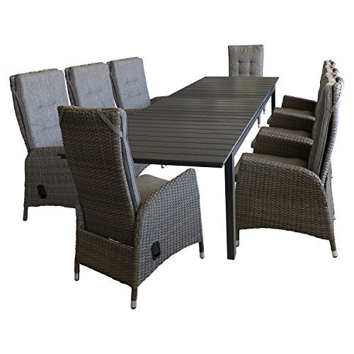 9tlg sitzgarnitur gartenm bel set sitzgruppe gartengarnitur terrassenm bel ausziehtisch 220. Black Bedroom Furniture Sets. Home Design Ideas