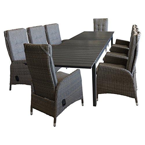 9tlg sitzgarnitur gartenm bel set sitzgruppe gartengarnitur terrassenm bel ausziehtisch 220. Black Bedroom Furniture Sets. Home Design Ideas