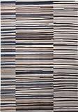 Esprit Marken Teppich, hochwertig im grafischen Streifendesign Seashore (70 x 140 cm, grau/braun/blau)