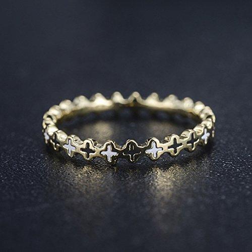 Thumby K Vergoldet Schwarz-Weiß Kruzifix Muster und Weißen Ring Frauen Winken Goldenen Ring Kruzifix Welle Plattiert Frauen Ring, Gold,