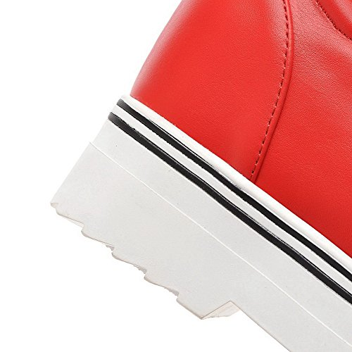 AgooLar Femme Rond à Talon Haut Matière Souple Mosaïque Tire Chaussures Légeres Rouge