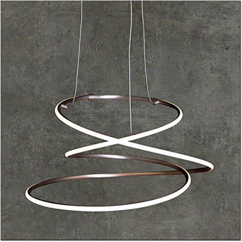 LED Pendelleuchte Dimmbar | Warmweiß | Ø 53cm | Höhenverstellbar | Ringe | Küchen Hängelampe | Wohnzimmer | Designleuchte | Deckenlampe | Schlafzimmer | Modern
