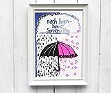 Kunstdruck Risographie Schirm Regenschirm Kinderzimmer Druck Poster Regenschirm Sonnenschirm umbrella Regen Sonnenschein Hoffnung neon pink