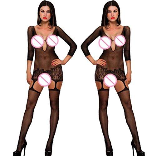 Hmeng-Langarm-Damen-Unterwschen-Reizwsche-Netz-Strumpfhose-Bodystockings-Hohle-Blumen-Jumpsuit-Frauen-Bodysuit-Nachtwsche-Dessous
