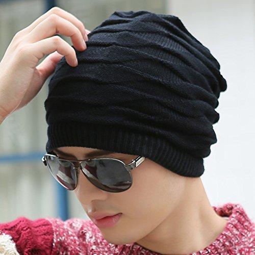 FQG*L'INVERNO HAT marea Autunno Inverno maglione Knit Hat cappuccio femmina e kit auricolare Baotou il (Patterns Knit Bambini Cappelli)