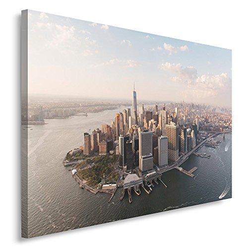 Feeby. Wandbild - 1 Teilig - 80x120 cm, Leinwand Bild Leinwandbilder Bilder Wandbilder Kunstdruck, NEW YORK, ARCHITEKTUR, BRAUN