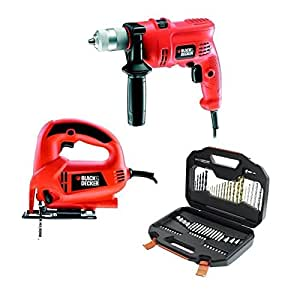 BLACK&DECKER Perceuse + scie + coffret 70pcs