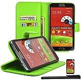 Galaxy Note III Neo Funda, PREMIUM Pouch Carcasa para Samsung Note III 3 Neo N7505 - Flip Case de PU-Cuero Wallet con Ranura para Tarjeta y Soporte en Verde + 1x Stylet + 1x Film de protection