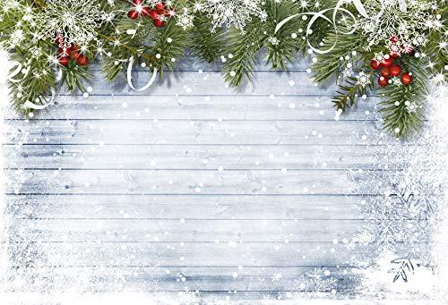KateHome PHOTOSTUDIOS 2,2m x 1,5m Xmas Fotografie Hintergrund weiß Schnee Holz Hintergrund grün Baum Prop Weihnachten Deko Hintergründen