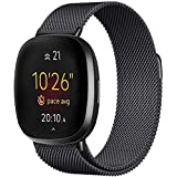S-Color Stainless Band Compatible with Fitbit Versa 3/Fitbit Sense Women Men, Stainless Steel Mesh Loop Replacement Bracelet