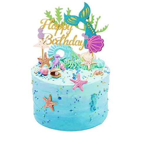 Wetrys 1PCS Glitter Mermaid Kuchendekoration Happy Birthday Kuchen Picks Mermaid Kuchen, Dekoration für Meerjungfrau Baby Dusche Geburtstag Party Supplies