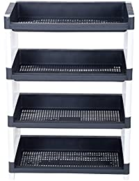 Regalo Plastic Multipurpose Storage Rack (15 cm x 10 cm x 15 cm, Black and White)