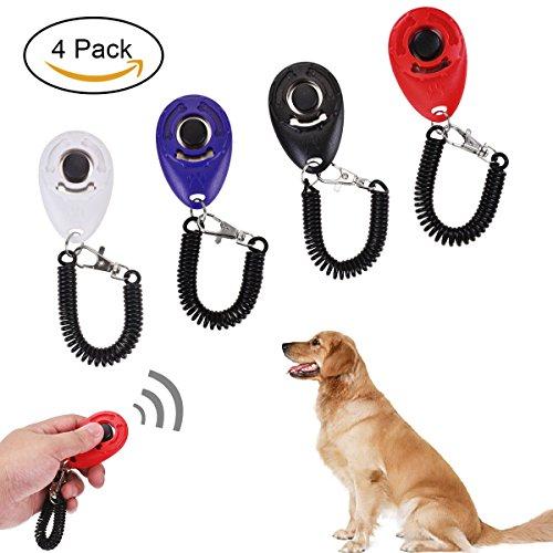 X-Mile 4 Pcs Profi Clicker mit Elastischer Handschlaufe Haustier Hundetraining Clicker für Hunde Katzen Pferde