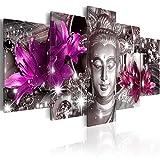murando - Bilder 200x100 cm - Vlies Leinwandbild - 5 Teilig - Kunstdruck - modern - Wandbilder XXL - Wanddekoration - Design - Wand Bild - Buddha Blumen Diamant h-C-0029-b-o