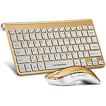 Pack de teclado y Ratón Inalámbrica Usb,2.4 GHz,1200 DPI (Oro)