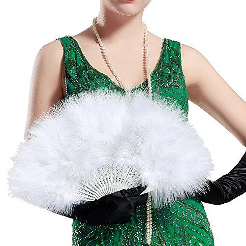 ArtiDeco Damen Fächer Marabou Feder 1920s Vintage Stil Retro Handfächer Damen Gatsby Kostüm Flapper Zubehör ()