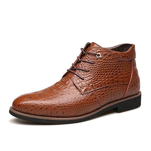 Stivaletti da uomo in pelle, gracosy scarpe stringate uomo oxford scarpe cap-toe crocodile pattern stivali martin british style pelle inverno casual classico con velluto marrone 44