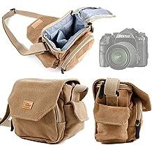 Etui avec bandoulière pour appareil photo Pentax K-S1, Q7, Q-S1, WG-30 Wi-fi et XG-1 - toile aspect vintage couleur sable - DURAGADGET
