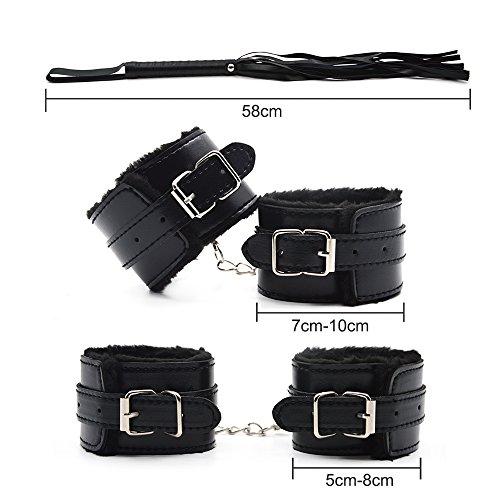 10 teiliges BDSM Bondage Set Halsbänder, Handschellen, Seile, Knebel, Peitsche usw. - 7