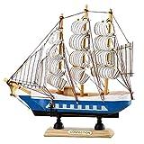 Vosarea Ornamento Barca a Vela in Legno Stile mediterraneo Barca a Vela modellino in Legno Decorazione della tavola di casa (Colore Casuale)