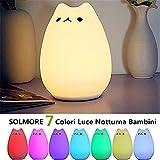 Luce Notturna LED, SOLMORE Lampada per Bambini Comodino Luce 7 Colori e Silicone Gatto Luce Decorazioni Luce Notturne per Camerette, Letto Bambini(Tramite cavo USB)