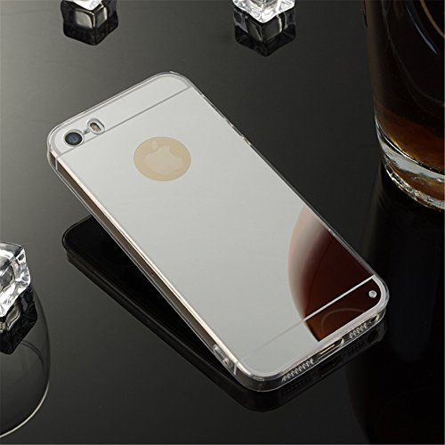 YANINA Coque Housse etui swag pour Apple iphone 5G/5S/SE case mince Protection étui TPU silicone miroir Luxe brillant - Rose Argent