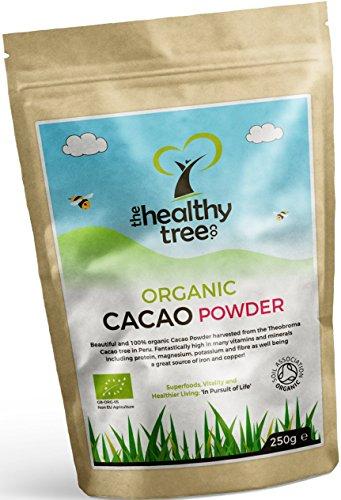 TheHealthyTree Company Cacao Crudo Orgánico en Polvo - Proteínas, Magnesio, Fibra y Potasio - Excelente en yogurt, batidos y para hornear - Cacao en polvo puro (250g)
