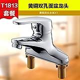 Grifo lavabo doble SunSui grifo de cobre doble cuerpo tres Grifo lavabo lavabo válvula mezcladora de agua,t1813