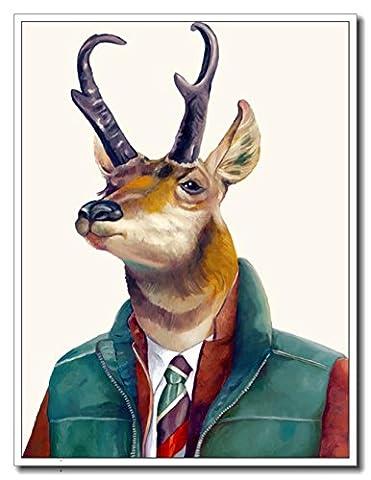 Haehne Modern Mr.Deer Toiles en coton Impression Oeuvres Peintures à l'huile Photo Imprimé sur toile Art mural pour les décorations maison à la chamber, 80 *120cm(31 *47Inch), Avec cadre