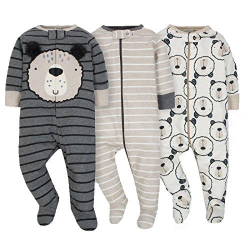 Gerber Onesies Baby Boy Sleep N Play Sleepers 3 Pack (3-6 Months, Gray Bears) -