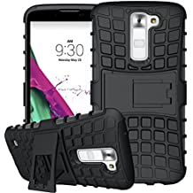 Nnopbeclik 2in1 Dual Layer Coque LG K7 Silicone [New] [Armor Séries] Protectrice Fine Et Élégante Rigide Back Cover Incassable case pour lg k7 case Silicone antichoc [X210] (5.0 Pouce) [Ridige] Protection Hybride en Mélange avec Béquille de Support Intégrée Housse Antiglisse Anti-Scratch Etui - [Noir]